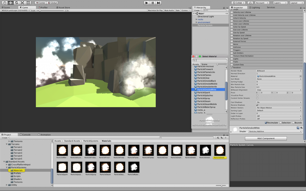 particle effects in unity